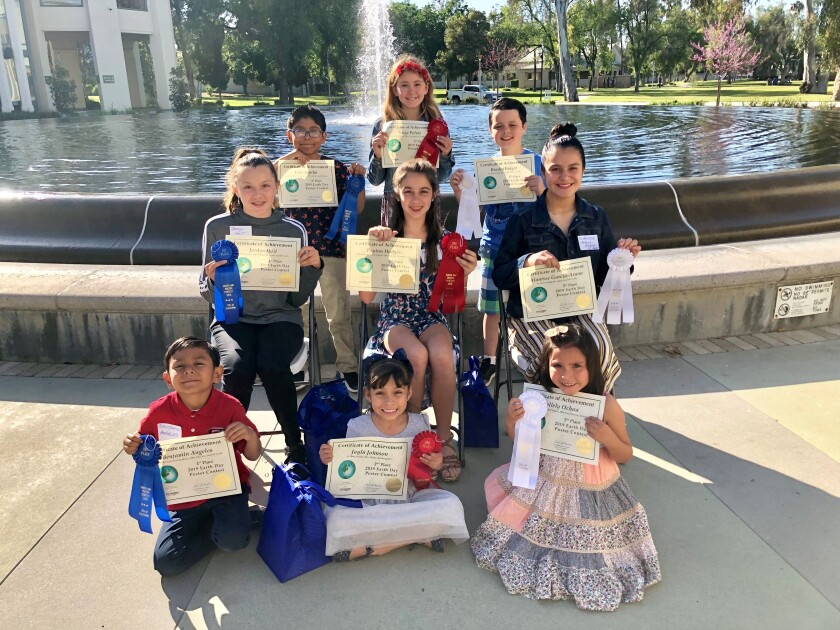 Escondido Earth Day poster winners: front (K-2): Benjamin Angeles, Jayln Johnson and Nallely Ochoa; middle (grades 6-8): Jordyn Hoit, Peyton Hodges and Alanisse Garcia-Arana; top row (grades 3-5): Luis Aguilar, Saige Peters and Braden Bolger.
