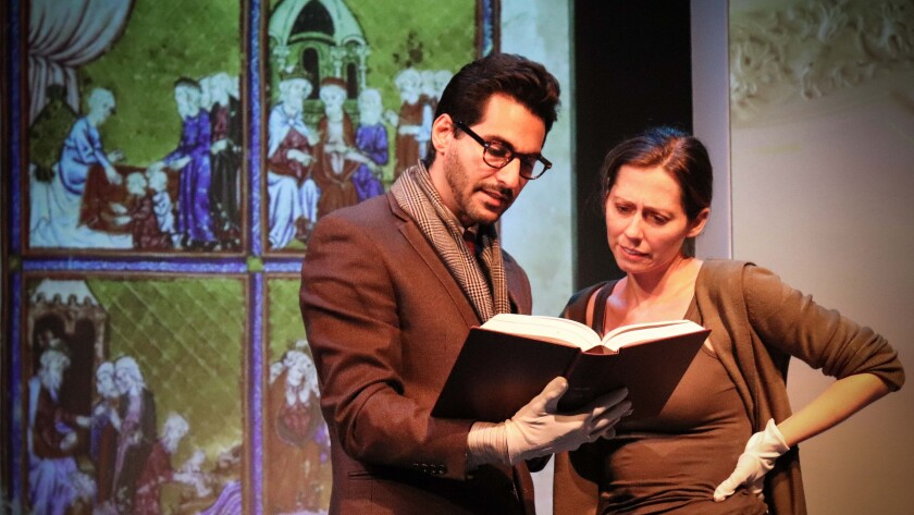 "Richard-John Seikaly and Allison Blaize in the Road Theatre's ""The Spanish Prayer Book."""