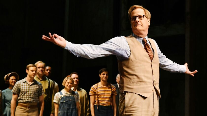 "Jeff Daniels takes a bow during curtain call after the opening-night performance of ""To Kill a Mockingbird"" at the Shubert Theatre on Dec. 13."