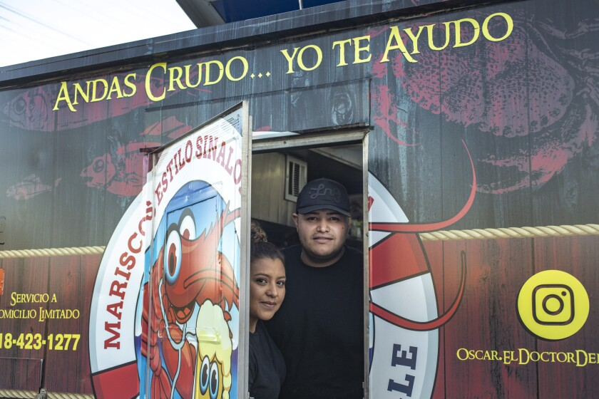 Adina and Oscar Soto and their food truck, El Doctor del Valle, which can be found in the San Fernando Valley just north of the intersection at Reseda Boulevard and Roscoe Avenue, Tuesday through Sunday.