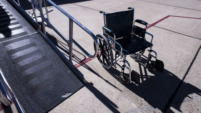 Wheelchair and slope.