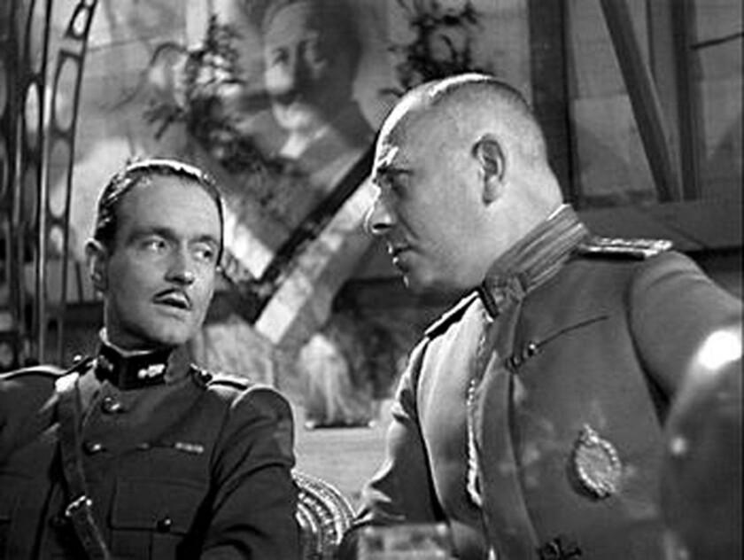 """Pierre Fresnay and Erich von Stroheim in """"Grand Illusion."""""""