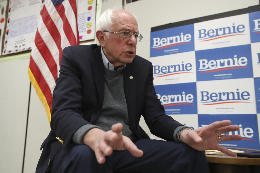 Democratic presidential candidate Bernie Sanders speaks during an interview with the Union-Tribune while in a classroom at San Ysidro High School prior to Sanders' rally at the school on Friday.
