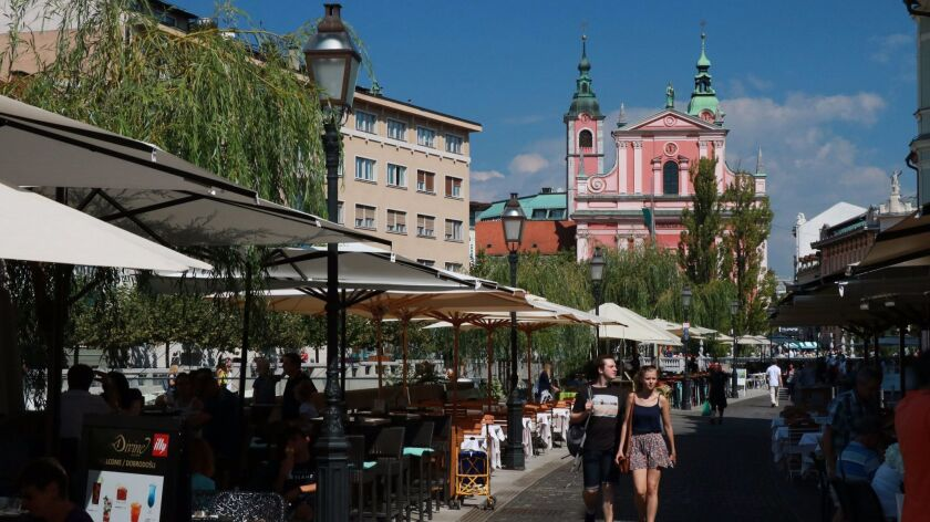 Cafes in old town Ljubjana provide a cheerful place to eat and relax.