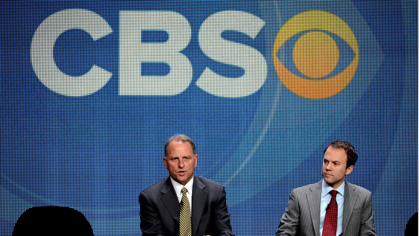 """Former """"60 Minutes"""" executive producer Jeff Fager, left, and CBS News President David Rhodes at the Television Critics Assn. press tour in Los Angeles in 2012."""