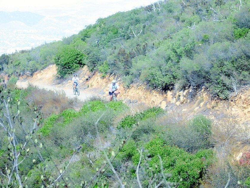 Double Peak Trail in San Marcos draws mountain bikers as well as hikers.