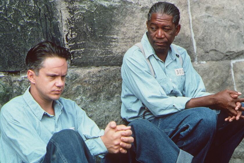 "Tim Robbins, left, and Morgan Freeman in ""The Shawshank Redemption"""
