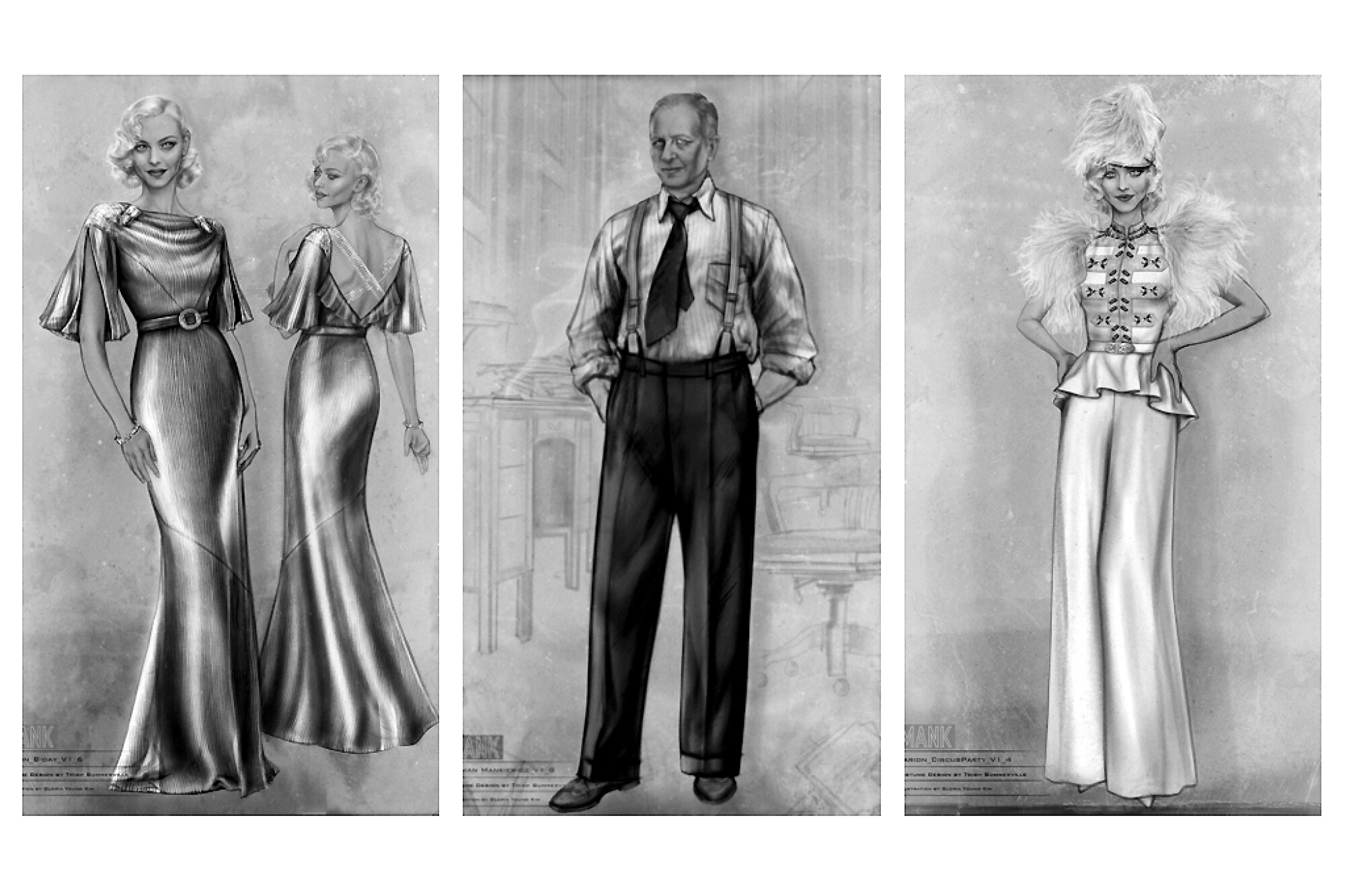 """Sketches of costume designs by Trish Summerville for the Marion Davies character and Herman Mankiewicz in """"Mank."""""""
