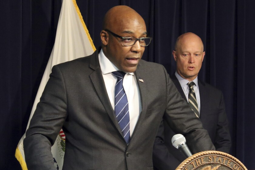 """FILE - In this Feb. 11, 2019 file photo, Illinois Attorney General Kwame Raoul speaks during a news conference in Chicago. The Illinois attorney general's office has launched a civil investigation of possible practices of """"unconstitutional or lawful policing"""" in a suburban Chicago police force. Raoul said Wednesday, Sept. 8, 2021, that the probe of the Joliet Police Department was requested by the city's mayor and city council members. (AP Photo/Noreen Nasir, File)"""