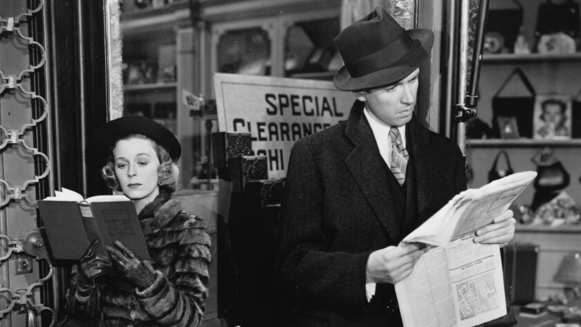 """Margaret Sullavan and James Stewart in the 1940 movie """"The Shop Around the Corner."""""""