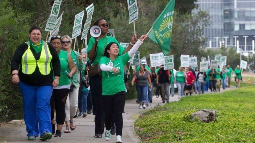 Hundreds of union workers began a three-day protest Tuesday at University of California hospitals.