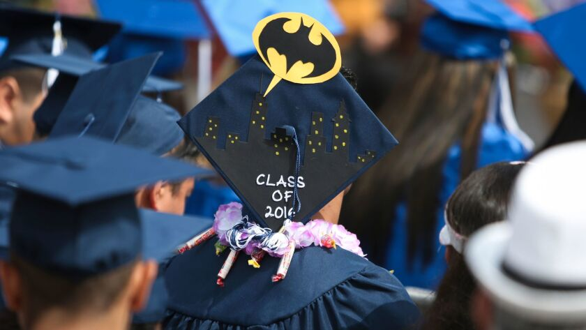 LOS ANGELES, CA-JUNE , 2016:A graduation cap from the Los Angeles Unified School District continuati