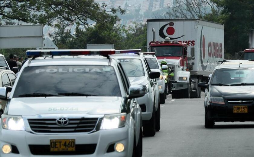 Trucks carrying the first shipment of US humanitarian aid intended for Venezuela arrive in the Colombian border city of Cucuta on Thursday, Feb. 7. EFE-EPA/Mauricio Dueñas Castañeda