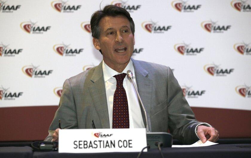 Sebastian Coe at a press conference in Monaco on Nov. 26.