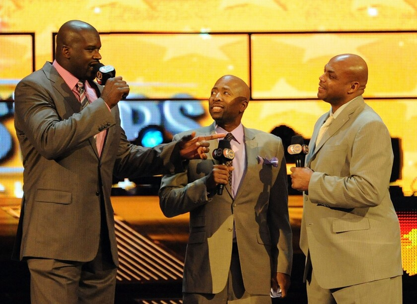 Shaquille O'Neal, left, Kenny Smith and Charles Barkley during the BBVA Rising Stars Challenge as part of 2012 All-Star Weekend on Feb. 24, 2012, in Orlando, Fla.