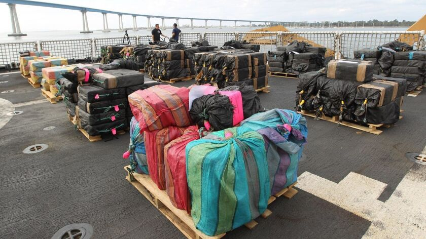 The Coast Guard unloaded 22,000 pounds of cocaine seized during drug interdiction operations in the Eastern Pacific. The 11 tons were loaded on to trucks at the 10th Avenue terminal in San Diego under heavy security.