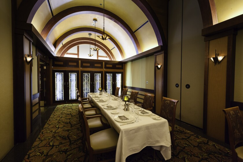 The private dining room at Pechanga's Great Oak Steakhouse is an elegant setting for a special holiday gathering.