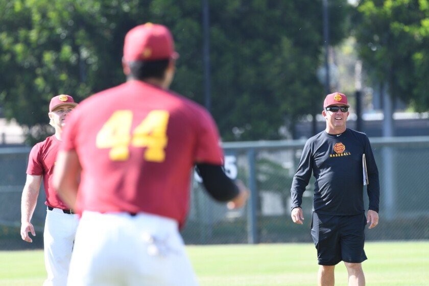 USC baseball coach Jason Gill at practice on the campus of USC.
