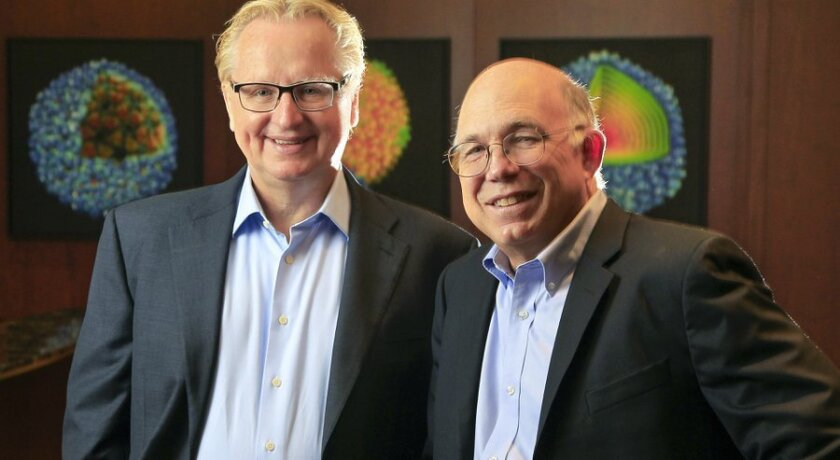Steve Kay, left, was named in September 2015 to serve as president of the Scripps Research Institute. Peter Schultz was named as chief executive.