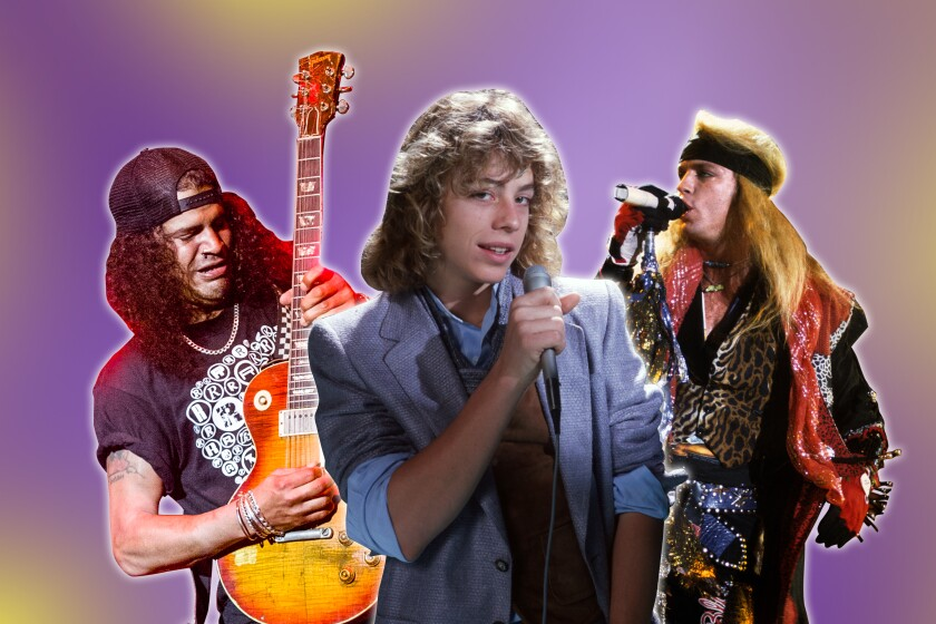 A photo collage of Bret Michaels and Leif Garrett holding microphones and Slash, holding a guitar