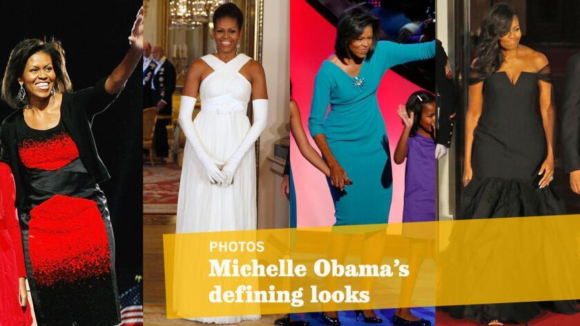 Desde cardigans de J. Crew hasta relucientes e impactantes vestidos; un resumen de los ocho años de la primera dama Michelle Obama como figura influenciadora de la moda.