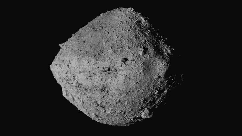 The chunk of rock that is the asteroid Bennu, as seen by OSIRIS-REx spacecraft