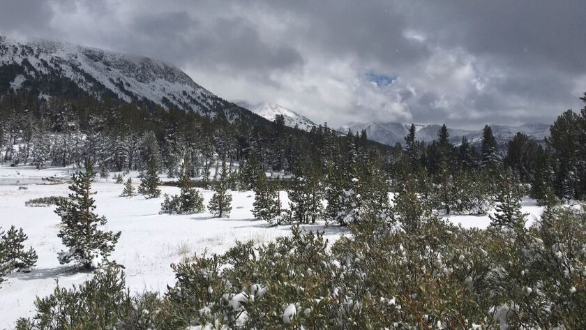 The first snow of the season is seen near Tioga Pass Thursday, Sept. 21, 2017 in Yosemite National P