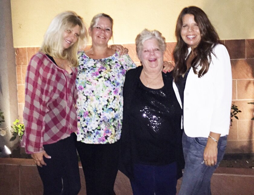 Rancho Santa Fe's RJ Anderson (far right) recently met her birth mother and sisters for the first time after searching for more than 20 years. Courtesy photo