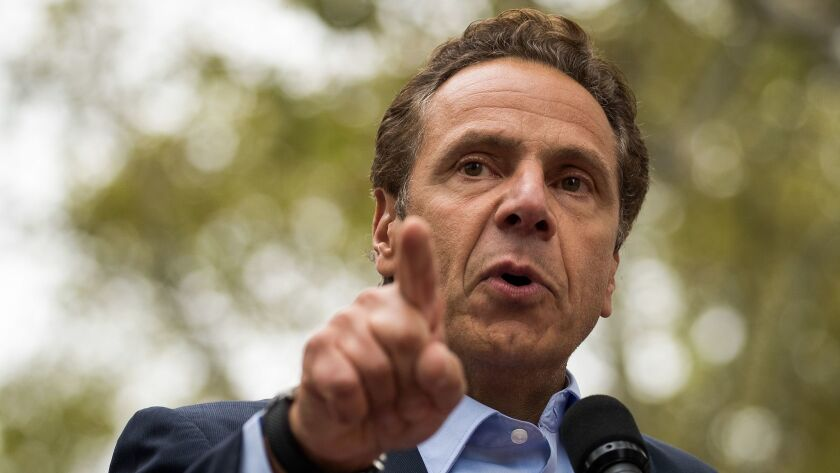 New York Gov. Andrew Cuomo speaks during an electrical workers union rally in Brooklyn in September.