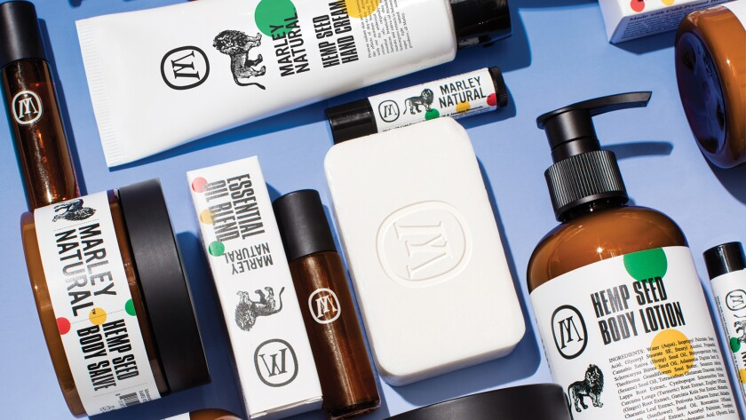 THC-Free cannabis products from Marley Natural include body wash, body lotion and bar soap.