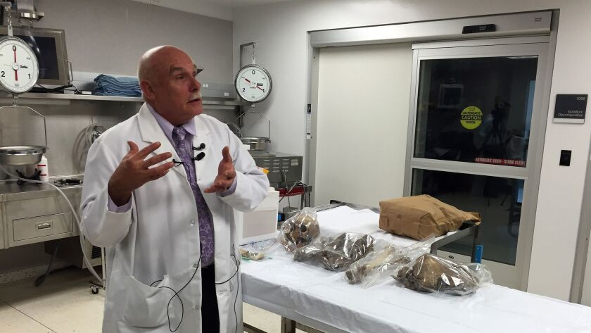Chief Medical Examiner Dr. Glenn Wagner stands in front of a table of bones that belong to several u