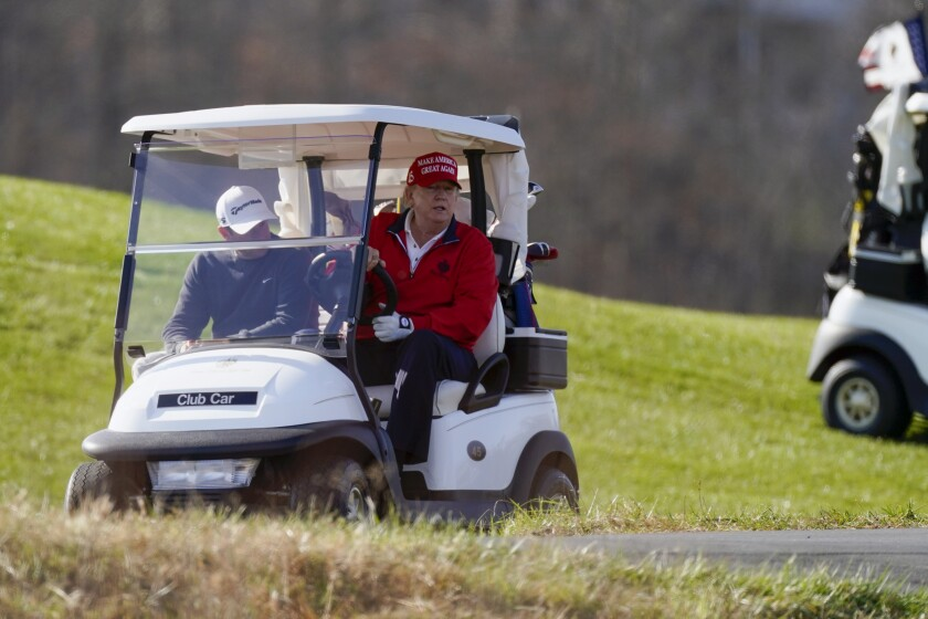 President Trump plays golf Nov. 28 at his course in Sterling, Va.