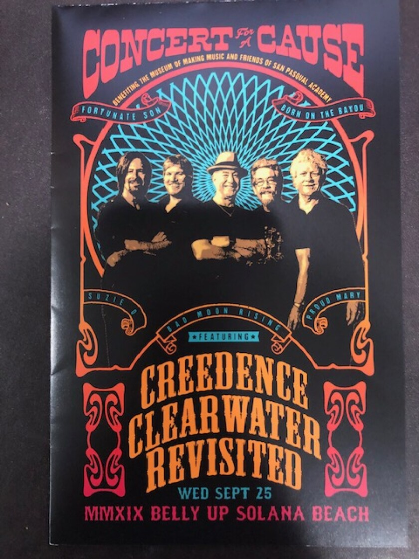 Creedence Clearwater Revisited performs Sept. 25 at the Belly Up Tavern to benefit Friends of San Pasqual Academy and Museum of Making Music.