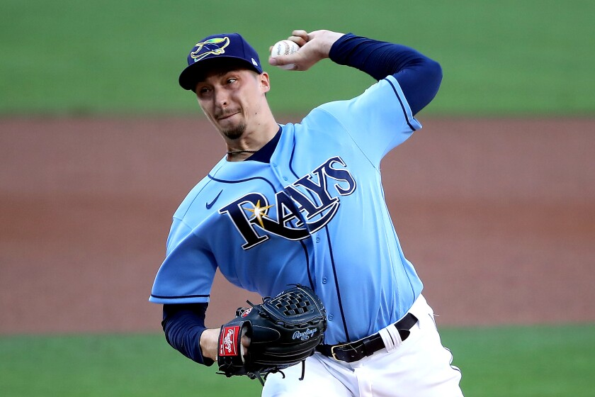 Padres pitcher Blake Snell, shown throwing for the Rays during the Oct. 11 ALCS game against the Astros at Petco Park