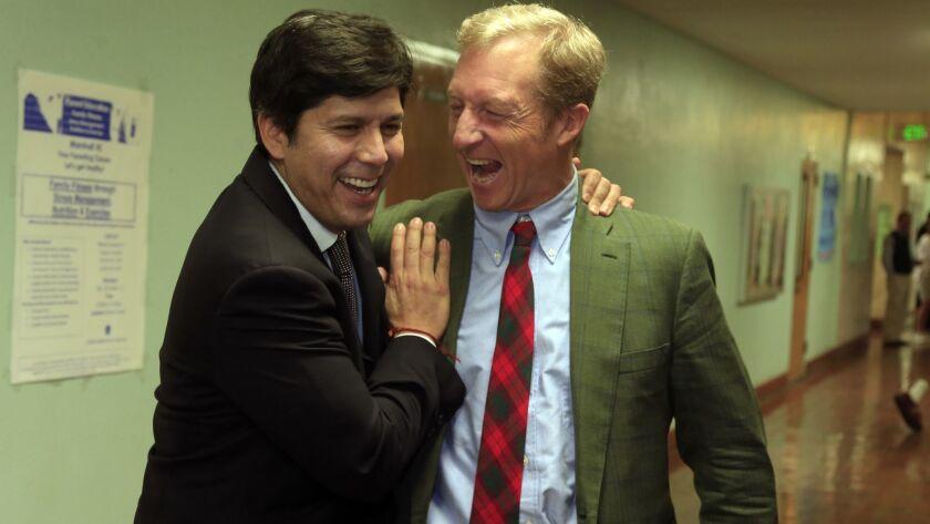LOS ANGELES, CA., OCTOBER 28, 2014: Senate President pro Tempore Kevin de Leon and Proposition 39 co