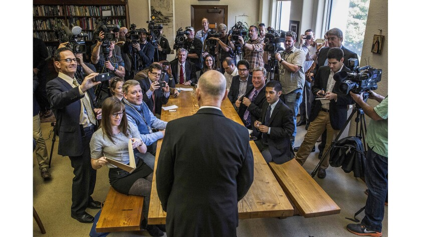 Nov. 5, 2014: California Gov. Jerry Brown conducts a news conference at the Capitol in Sacramento a