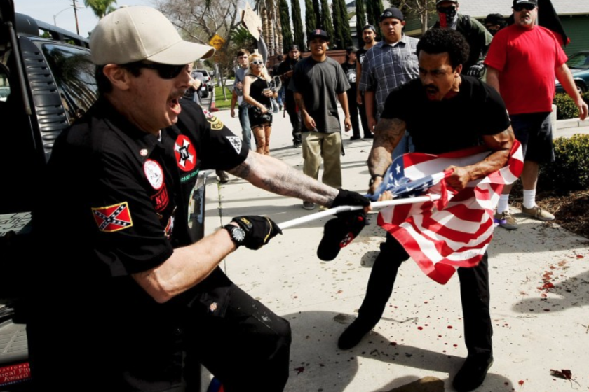 "A clash during a ""White Lives Matter protest in Anaheim involving KKK members in 2015"