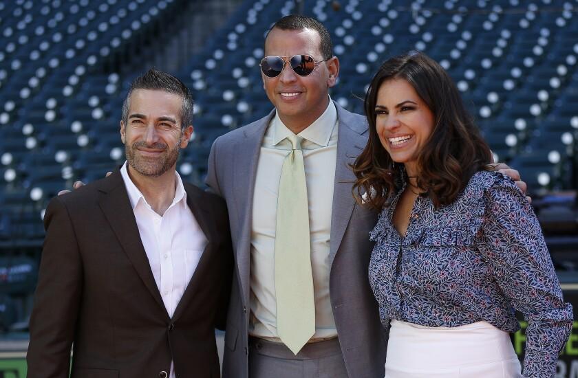 Sports broadcaster Matt Vasgersian, left, poses with ESPN colleagues Alex Rodriguez and Jessica Mendoza.
