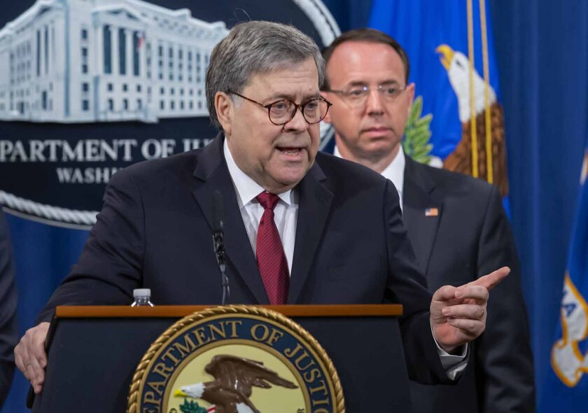 DC: Attorney General William Barr press conference on the Mueller Report