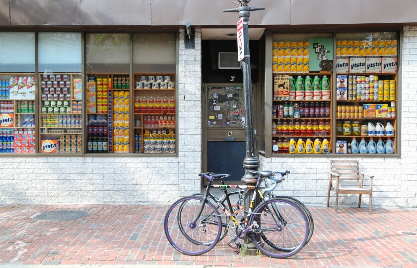 A look at the outer convenience store facade of Bodega at 6 Clearway St. in Boston. On the inside, however, the Boston-based retailer is a high-end boutique.