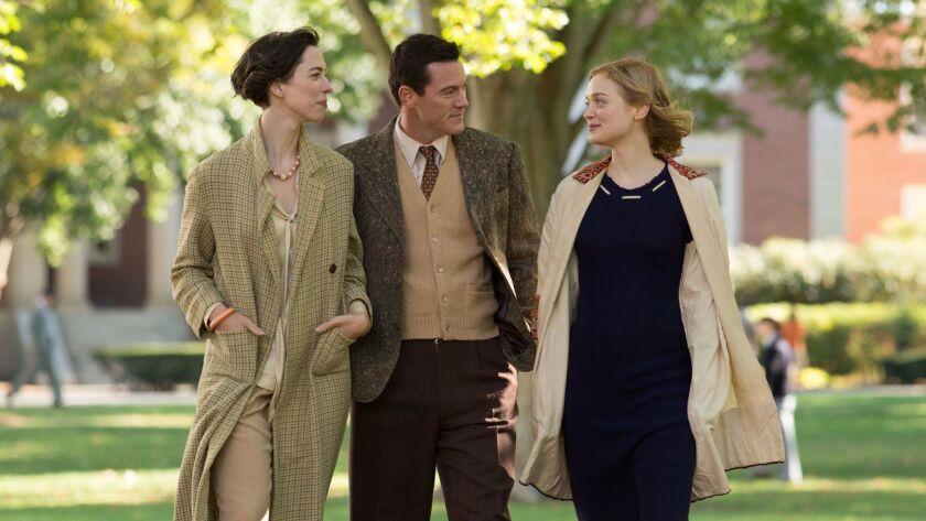 "Rebecca Hall, left, stars as Elizabeth Marston, Luke Evans as William Marston and Bella Heathcote as Olive Byrne in ""Professor Marston and the Wonder Women."""