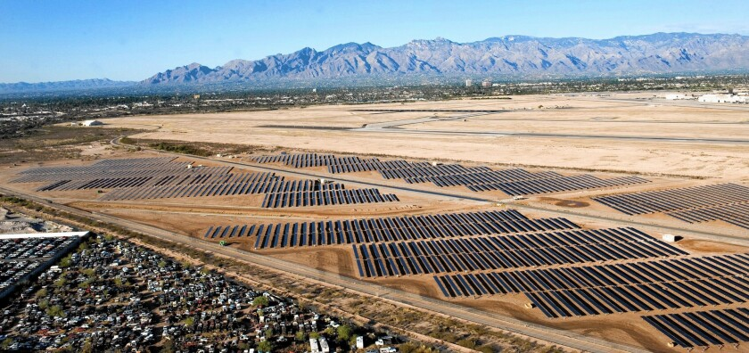 Davis-Monthan Air Force Base signed a 25-year power purchase agreement with SunEdison in 2010 to design, finance, build, operate and maintain a 16.4-megawatt solar farm on 170 acres in Tucson.
