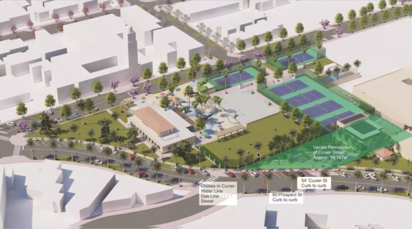 The La Jolla Traffic & Transportation Board approved the proposed vacation of part of Cuvier Street, shaded in green.