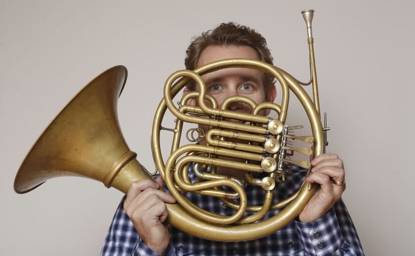 Los Angeles Philharmonic's principal horn Andrew Bain, featured soloist in 'Brilliant Brass,' says he feels 'very lucky every day'