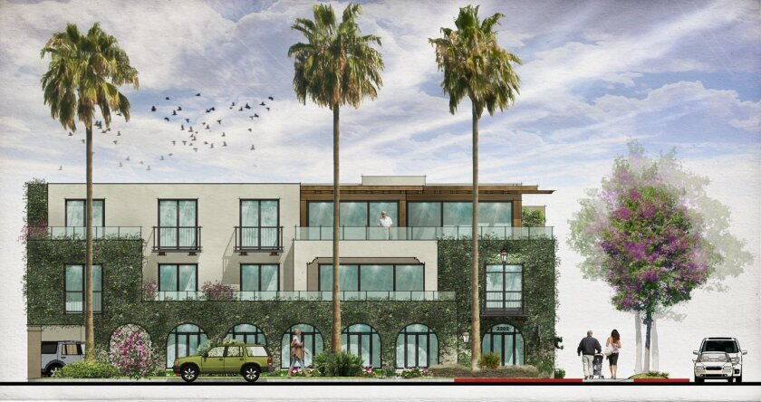 rendering of a mixed-use structure la jolla Shores residents Bob and kim Whitney plan to build, as seen from the west along El Paseo Grande.