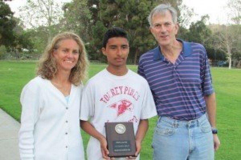 Coach Michelle Moraga, Antonio Cruz and Solana Beach Soccer Club President Jeff Lyle.