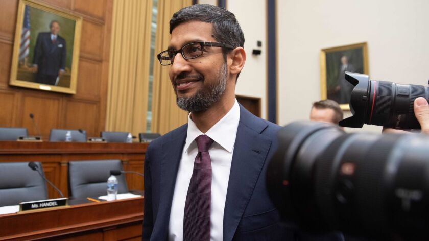 Google CEO Sundar Pichai arrives to testify at a House Judiciary Committee hearing in Washington on Tuesday.