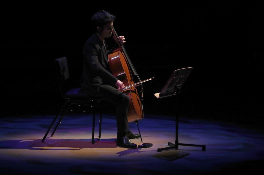Cellist Jay Campbell performs at Disney Hall.