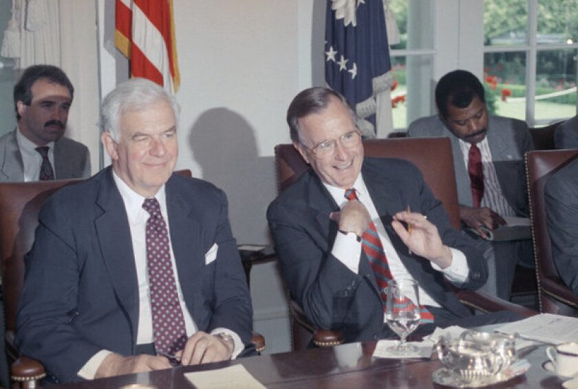 In this 1989 photo, House Speaker Thomas S. Foley (D-Wash.) sits next to President George H.W. Bush during a meeting with the congressional leadership at the White House. Foley died Friday at age 84.