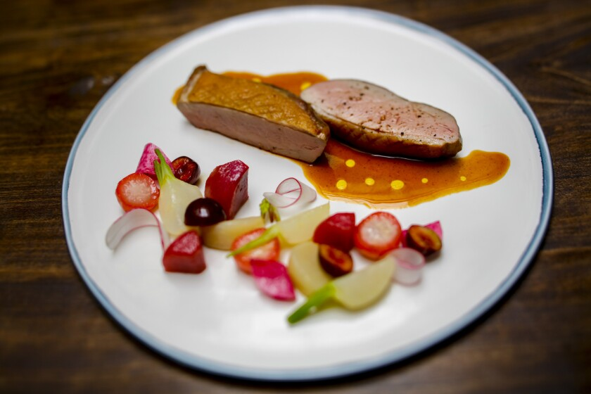 Magret de Canard, maple leaf duck breast, salsify, pear, yam and sauce dolce forte at Spring.